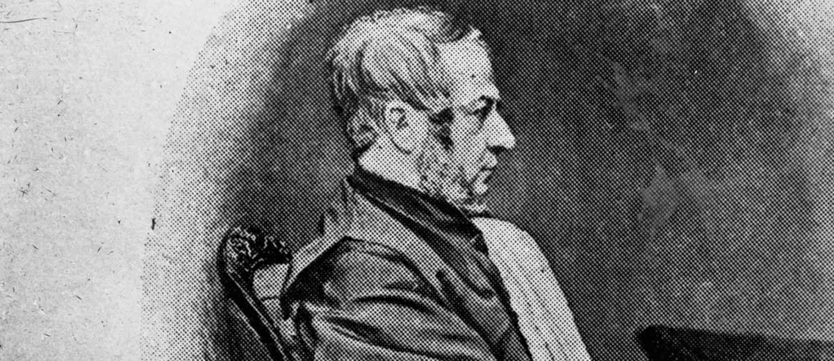 Image: black and white portrait of a man in profile