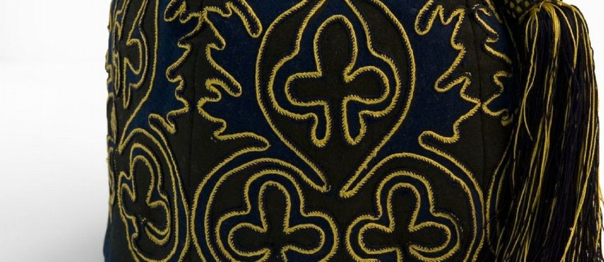 Image: Blue and gold embroidered smoking cap