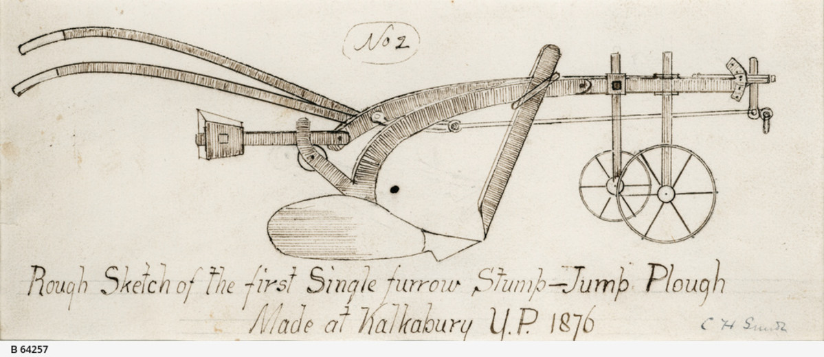 Image: A hand-drawn sketch of a plough. 'Rough Sketch of the first single-furrow Stump-Jump Plough. Made at Kalkabury, Y.P. [Yorke Peninsula], 1876'. The sketch is signed 'C.H. Smith'