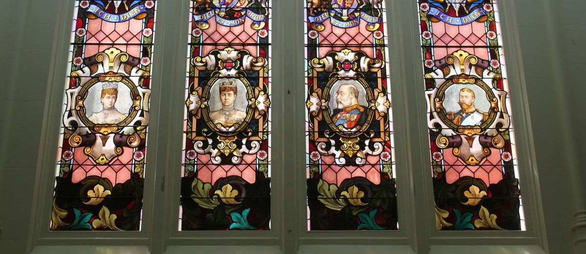 Empire window, northern wall of main hall, Brookman Building, 2013