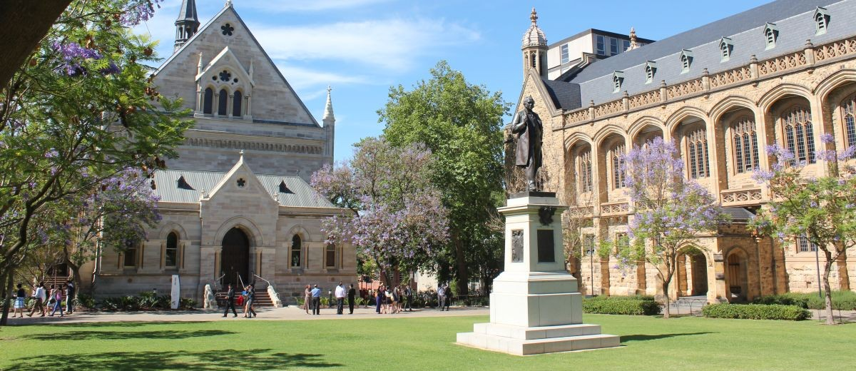 Bronze statue of Sir Thomas Elder by Alfred Drury, 1903 outside Elder Hall, University of Adelaide