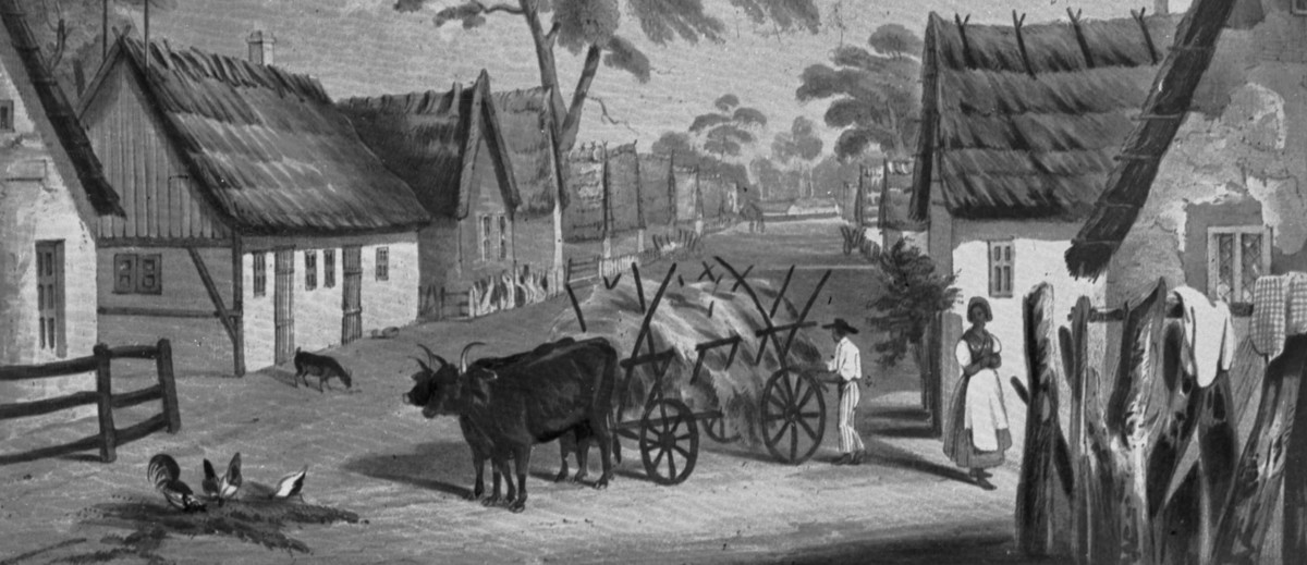 Image: A painting of a landscape scene that features a thoroughfare in a small town flanked by thatched-roofed homes. An ox-drawn cart filled with wheat is in the middle of the street
