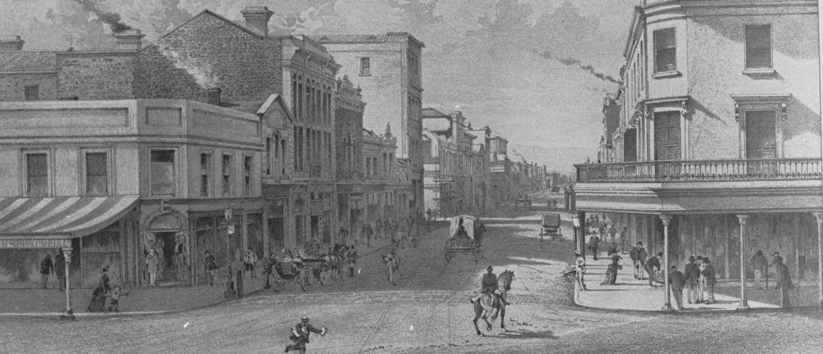 Image: black and white sketch of street scene