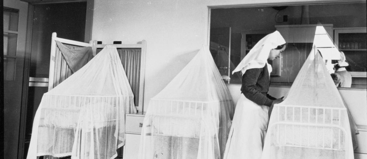 Image: Nurse with bassinets
