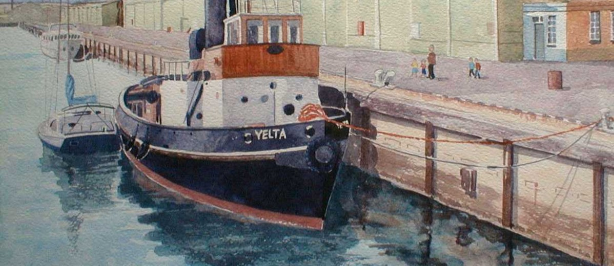 Image: A watercolour painting of a tug boat moored alongside a wharf. The name 'Yelta' is painted on the vessel's bow