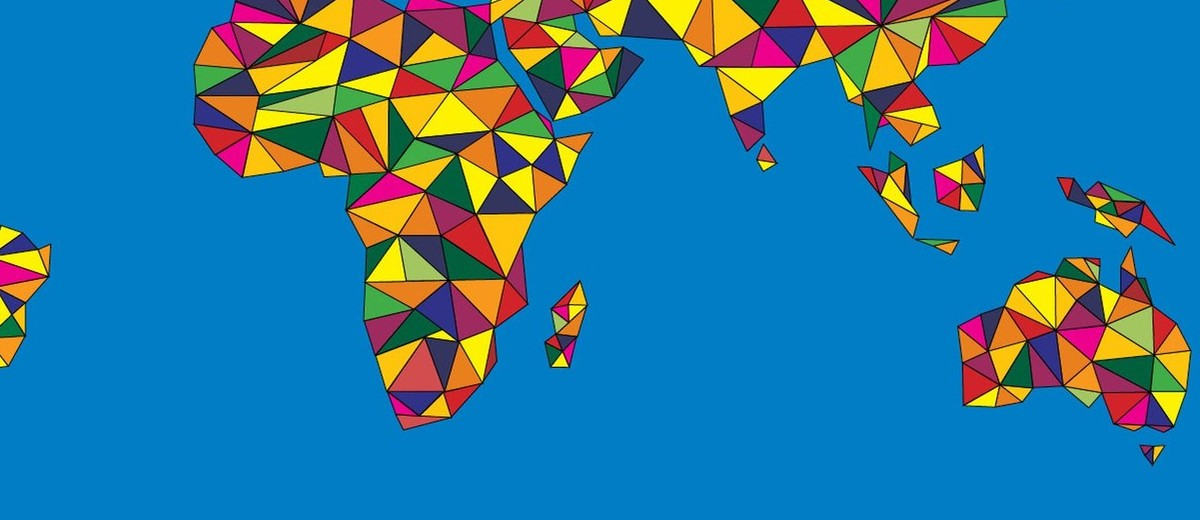 Image: stylised world map in multicoloured pattern