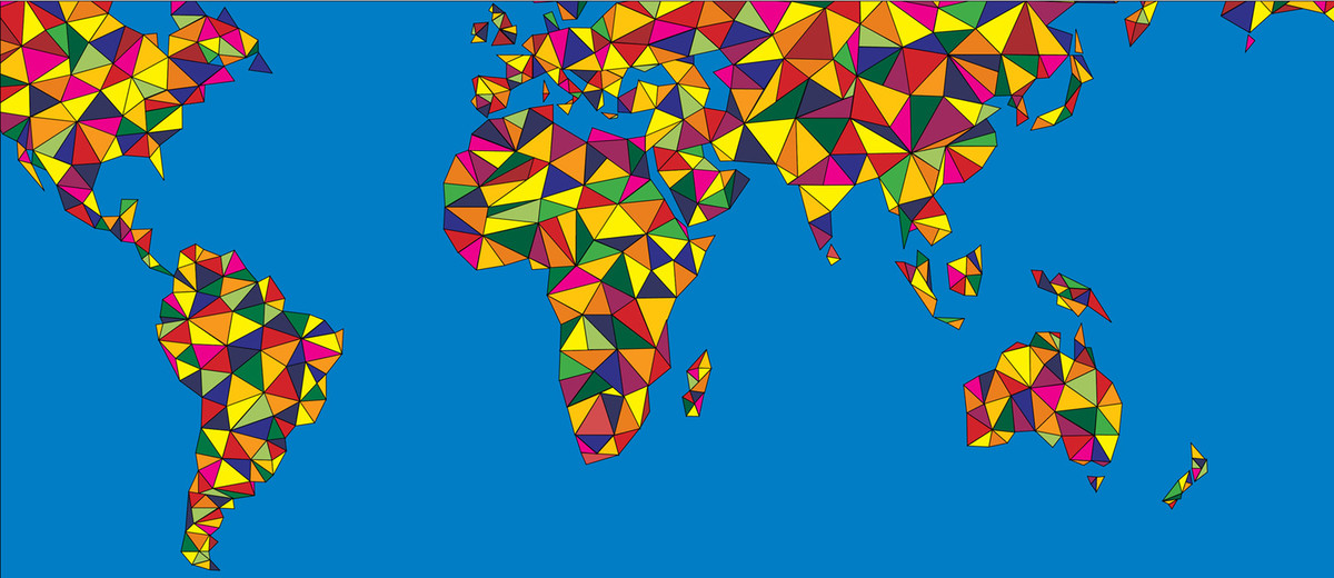 World map in multicoloured mosaic style