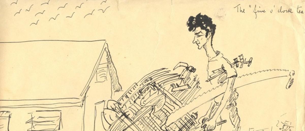 Image: drawing of man pushing wheelbarrow