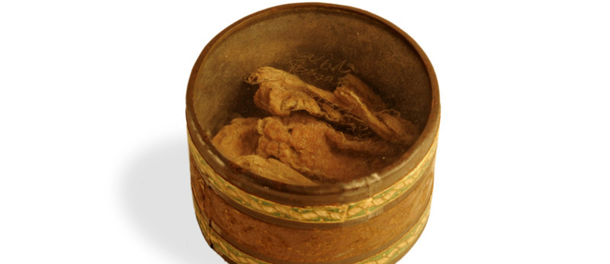 Image: round tin with clear lid and brown substance in bottom
