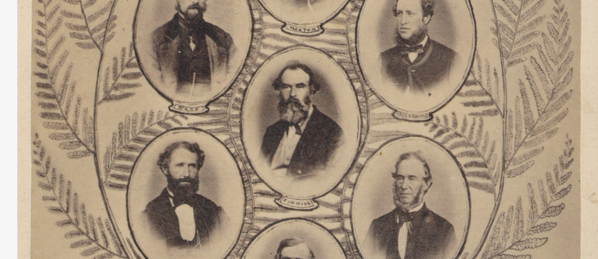 Image: composite image depicting portraits of men from a survey expedition