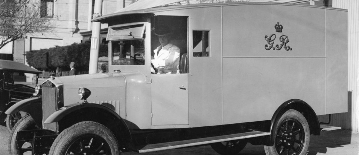 Motorised prison van introduced in 1928 for the conveyance of prisoners between the Supreme Court and the Gaols at Yatala and Adelaide / May 1928'.