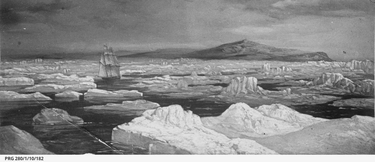 Image: Artistic impression of the Investigator (ship) approaching Australia through icy seas in 1802