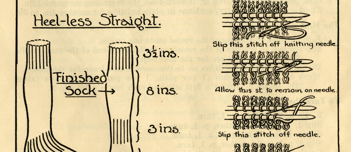 Image: Illustration of three types of knitted socks (1st choice sock, heel-less spiral, heel-less straight) and an example of loops on the knitting needle