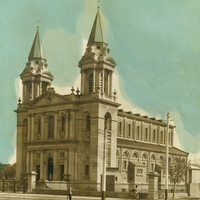 Image: a church with two spires
