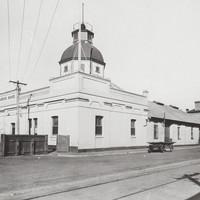 Image: Large stone building on corner