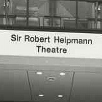 Image: The entrance to a large, modern three-storey building. A sign on the front of the building reads 'Sir Robert Helpmann Theatre'