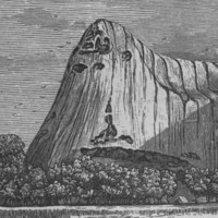 Image: A lithograph of a large stone edifice with a conical peak at one end. A banner beneath the illustration features the words 'Ayers Rock, Central Australia'