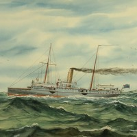 Image: Painting of steam ship with two masts and steam coming from funnel, ship is on choppy water