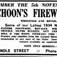 """Image: advertisement of fireworks; varieties include """"flitter fountains, rotalex whirlers, robot signals"""" and """"silver bullets"""""""