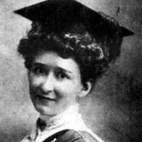 Image: head and shoulders shot of young woman wearing mortar board