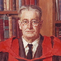 Image: A painted portrait of a middle-aged man sitting in a chair in front of a large bookcase. He is wearing wire-rimmed spectacles, a suit and tie, and academic gown