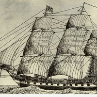 Image: pen and ink drawing of sailing ship