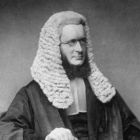 Image: Upper body portrait of a man, seated, wearing his wig and gown and holding a sheaf of papers.