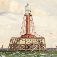 Image: A watercolour painting of a red lighthouse tower with a white lantern room. At the base of the tower is a wooden platform supported by numerous wooden piles. A man stands on the platform at far right