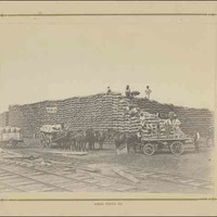 Image: men and horse drawn carts in front of a huge pile of wheat sacks