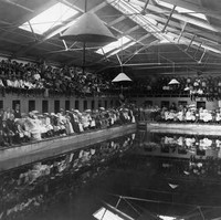 Image: A crowd of men and women in late Victorian attire sit on benches around a large swimming pool
