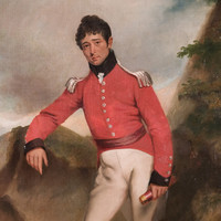 Image: Painted self-portrait of a man leaning against a rock wearing a red military jacket and cream trousers