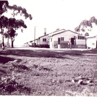 Image: buildings, dirt road and gum trees