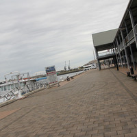 Image: Concrete wharf and large iron shed
