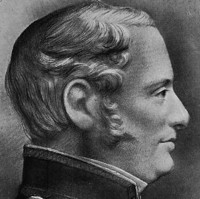 Image: A sketch portrait of a middle-aged, clean-shaven man in a naval uniform