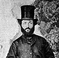 Image: A full-length portrait of a bearded man in early Victorian attire and stove-pipe hat