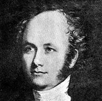 Image: A painted head-and-shoulders portrait of a young, balding man with long sideburns and wearing early Victorian attire