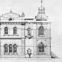 Image: An architectural illustration of a large, two-storey Victorian-Italianate building. The words 'Institute of Arts & Sciences' are visible on the top front of the building
