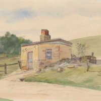 Image: Watercolour image of a toll house covered in advertising