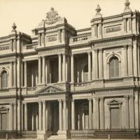 Image: ornate facade of a bank building