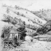 Image: Sketch of toll house and road