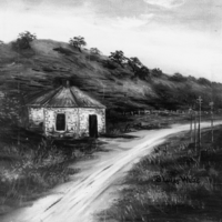 Image: Oil painting of a small toll house