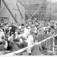 Image: Clergymen bless the foundations of a church building extension