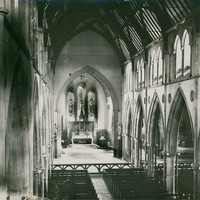 Image: Interior view of a Gothic Revival Cathedral towards altar