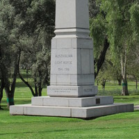 Image: A memorial to the Australian Light Horse, it is a tall grey column