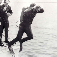 Image: A scuba diver enters the water off the stern of a motor boat, while other divers look on