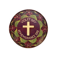 Image: purple badge with cross and violet images