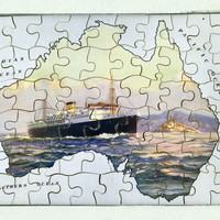 Image: Jigsaw with image in shape of Australia overlaid with steamship on ocean