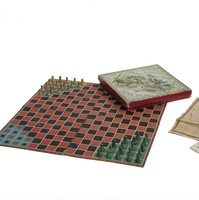 Image: board game with pieces set out
