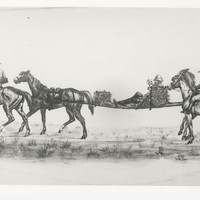 Image: This sketch shows a man on a stretcher being carried between two horses, with two other men riding horses in front and behind