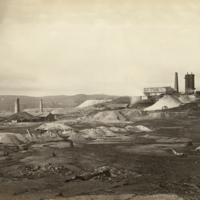 Image: Black and white photograph of a landscape view of Kapunda Mines in the late nineteenth century